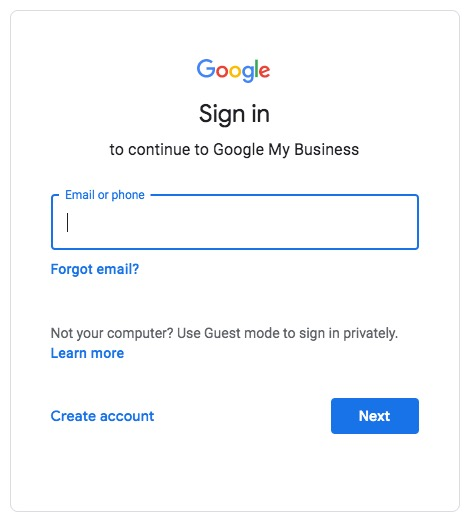 Login to Google My Business